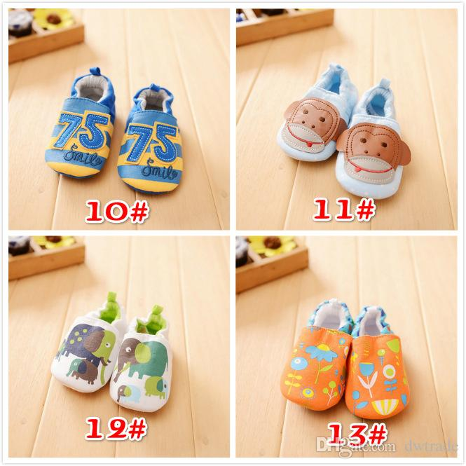New Design Cartoon Animal Pattern Printing Comfortable Cotton Non-slip Baby Walk Breathable Shoes Cute Toddler Shoes 4 Sizes a Set