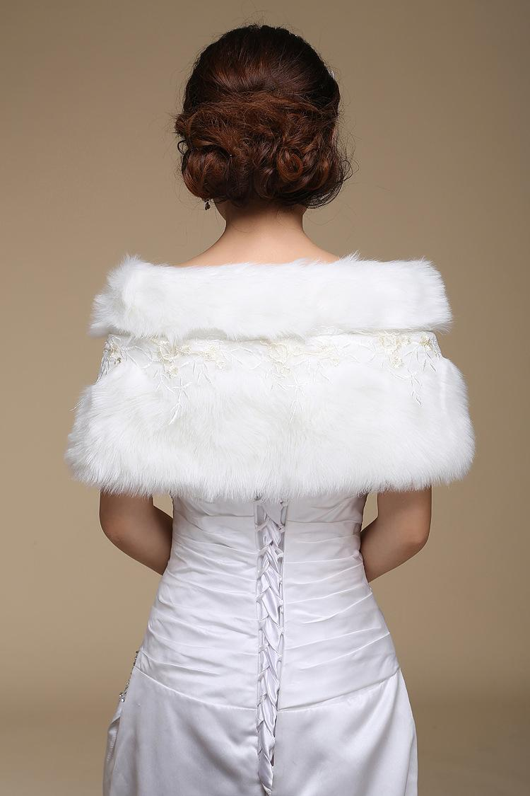2018 Elegant Retail Warm Faux Fur Ivory/Red Bolero Wedding Wrap Shawl Bridal Jacket Coat Accessories
