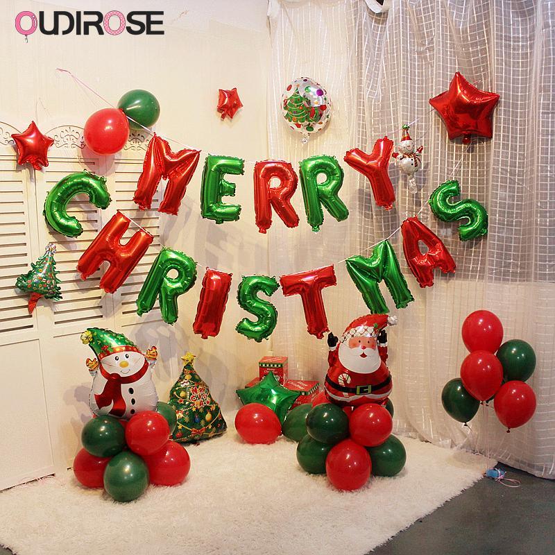 Frohe Weihnachten Film.Weihnachten Ballon Flagge Rot Grün Frohe Weihnachten Brief Ballon Aluminium Film Dekoration Hochzeit Party Supplies