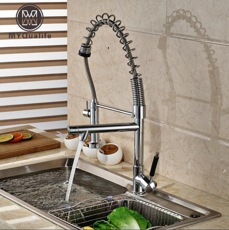 Chrome Finished Pull Out Spring Kitchen Faucet Deck Mount Swivel Spout Vessel Sink Mixer Tap Dual Sprayer