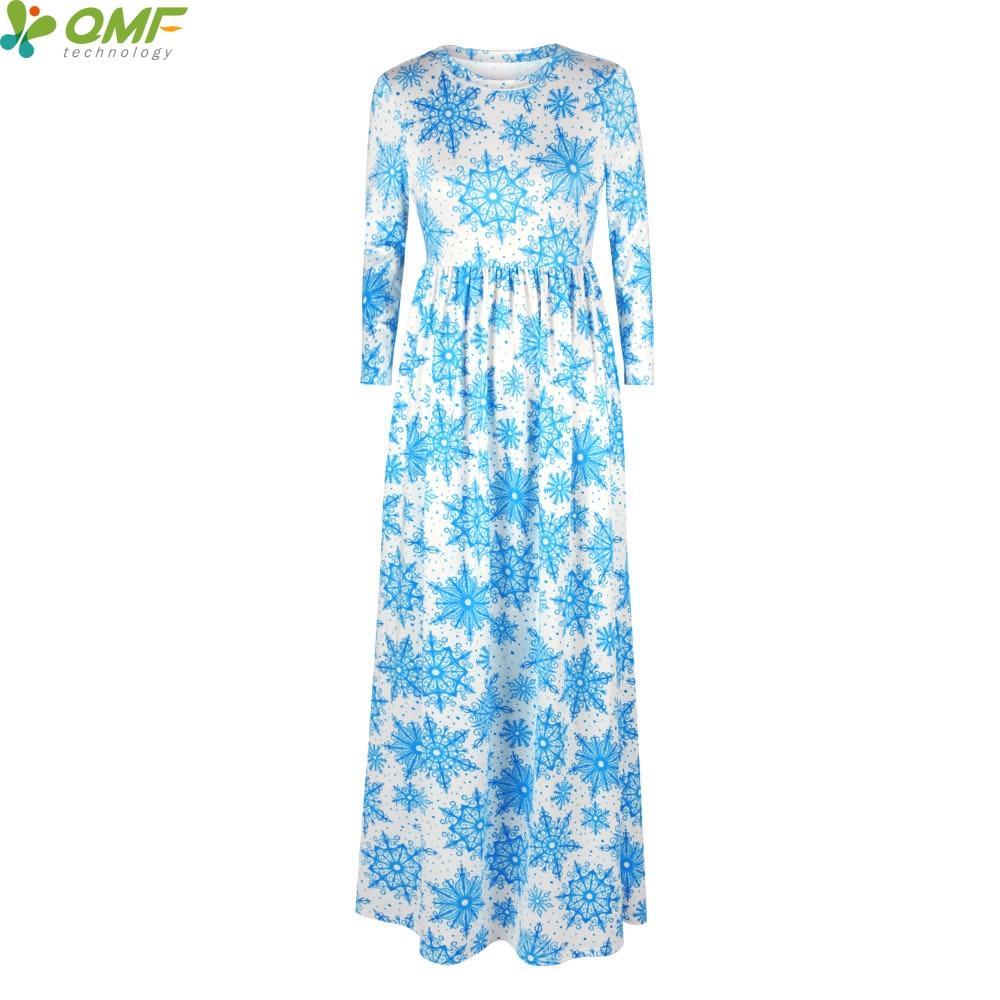 Light Blue Snowflakes Girl Tennis Long Dress Autumn Winter Maxi Snow Flakes Dresses Holiday Party Female White Vestidos Floor Length