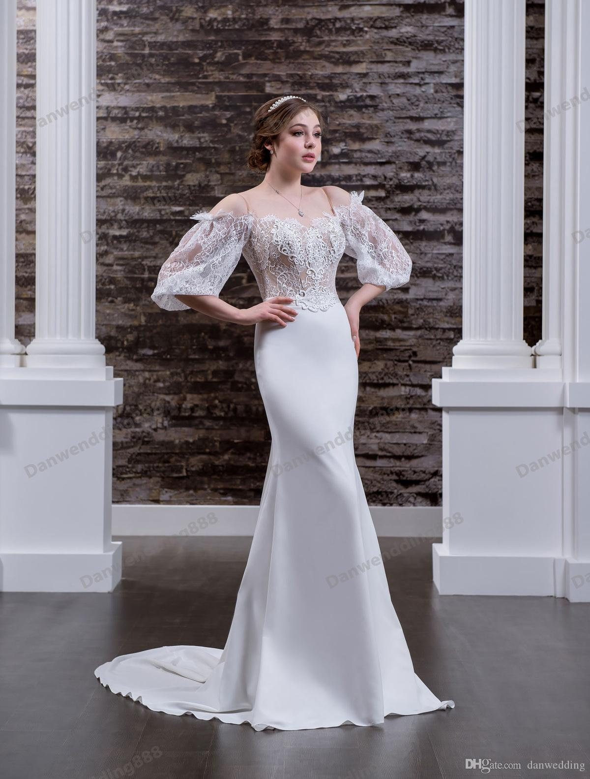 Grace Ivory Satin/Lace Off Shoulder Straps Mermaid Wedding Dresses Bridal Pageant Dresses Wedding Attire Dresses Custom Size 2-16 ZW612182