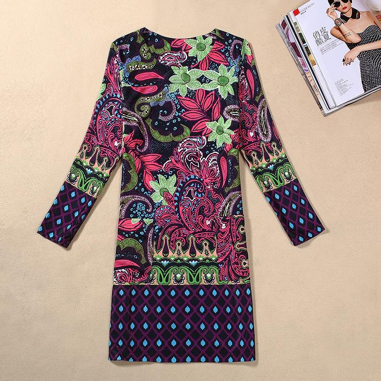 8127e16d9 New European and American dress classic printed autumn suit long sleeve  large size women's dress 6520