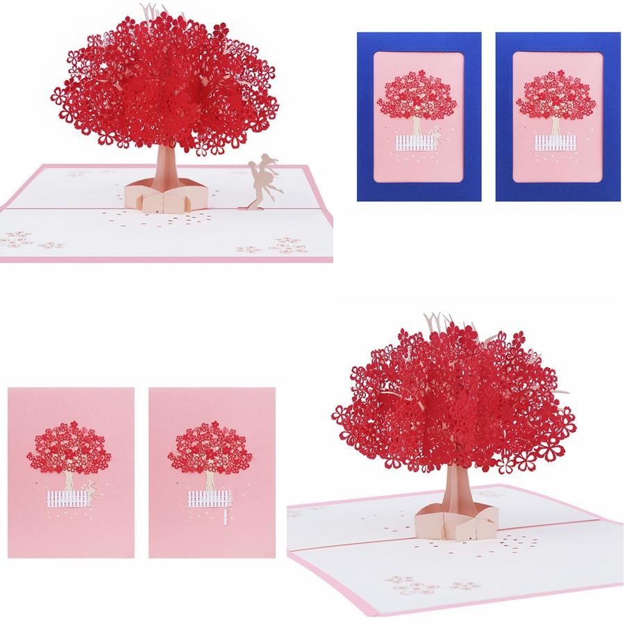 Handmade Sakura Greeting Cards Elegant 3d Pop Up Post Card Romantic Sakura Tree Postcards Wedding Postcard Invitations For Lovers Gga1181