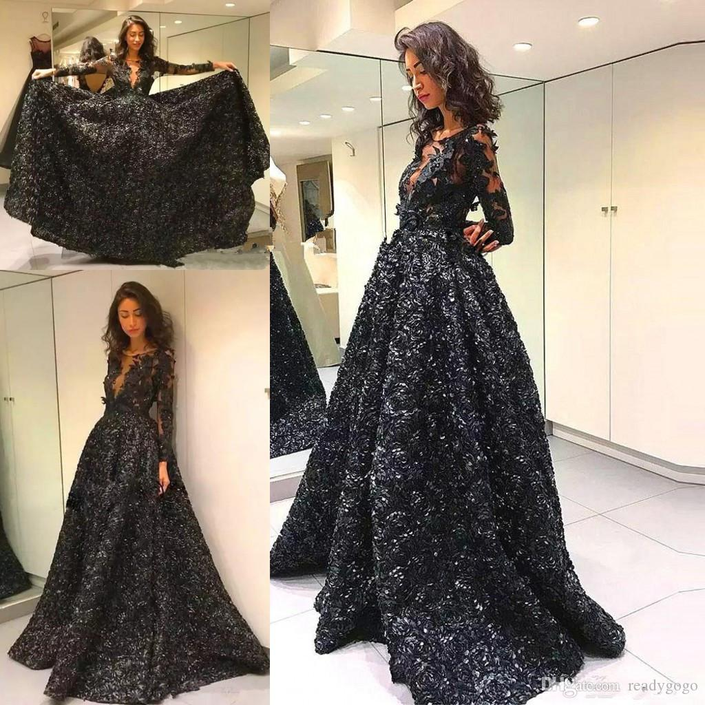 Black Ball Gown Prom Pageant Dresses Scoop Neck With 3D Rose Flower Formal Evening Gowns Plus Size Long Sleeve Vestidos De Fiesta