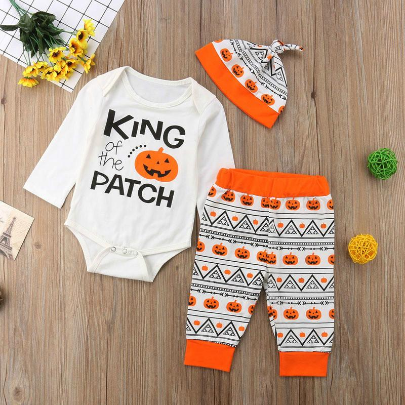7a050f4a4035 New Halloween Baby Romper Set Boys And Girls Letter And Pumpkin ...