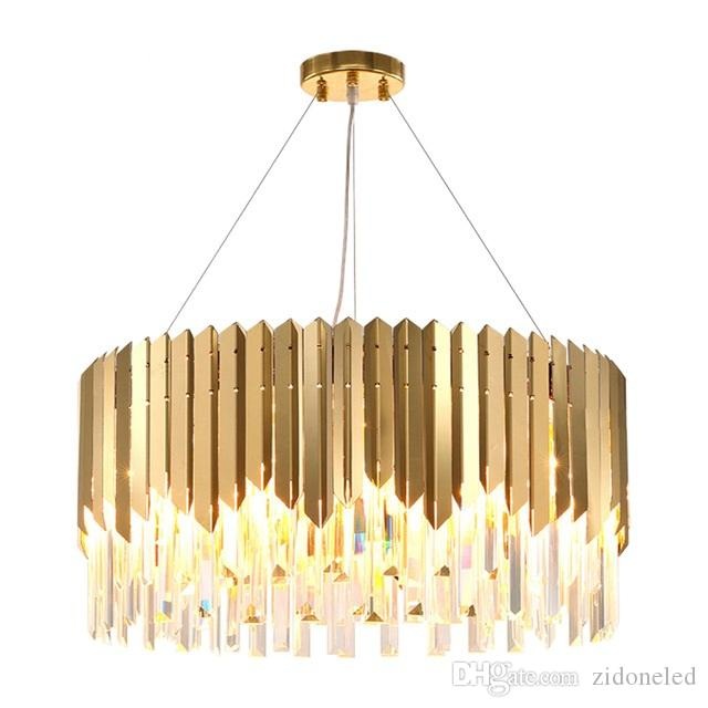 Luxury Modern Round Crystal Chandelier For Dining Room Rectangle