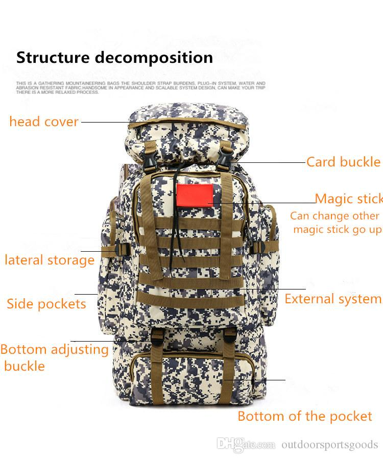 Multi-function Mountaineering bag 70L large capacity outdoor sports camouflage double shoulder backpack training camp baggage backpack