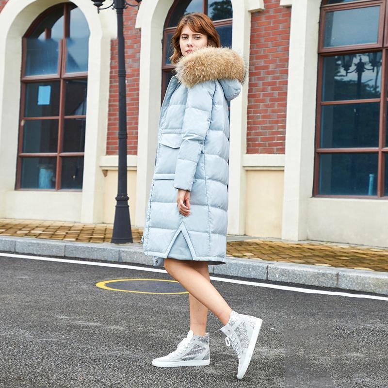 2c679b8c66c Russian Winter Luxury Large Fur Women Outwear Coat Duck Down Female Winter  Coat Long Down Jacket European Thick Overcoat G158