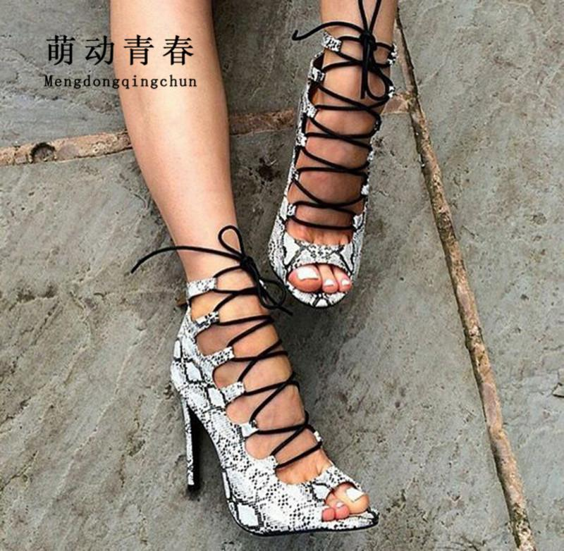 b24c6fb3c05 Hot New Brand Women Pumps Women Lace Up Sexy Snake Print High Heels Sandals  Fashion Peep Toe Cross Tie Catwalk Summer Pumps Slip On Shoes Mens Loafers  From ...