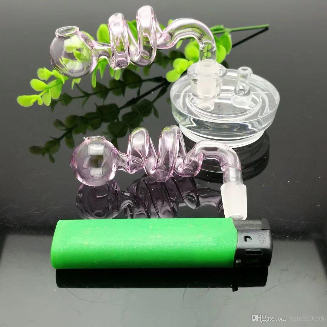 pot-de-rosa espiral dobro bongs Atacado Oil Burner vidro Pipes Pipes água Vidro Cachimbo Oil Rigs Fumar, frete grátis