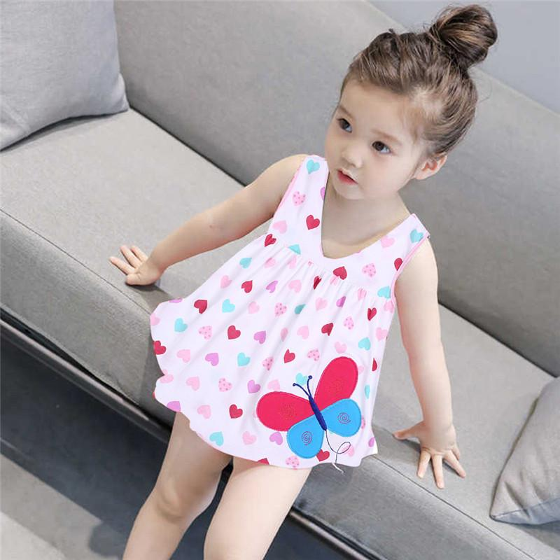 ccbf0aee8ca9e 2018 Summer Baby Girl Princess Dress Clothes 0-2 Year Cartoon Dot Dress for  Newborn Girl Baby Cotton Sleeveless Clothing