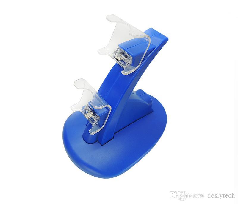Livraison gratuite Dual USB Charging Dock Chargeur Station d'accueil pour Sony Playstation 4 Contrôleur PS4 / PS4 Pro / PS4 Slim avec câble