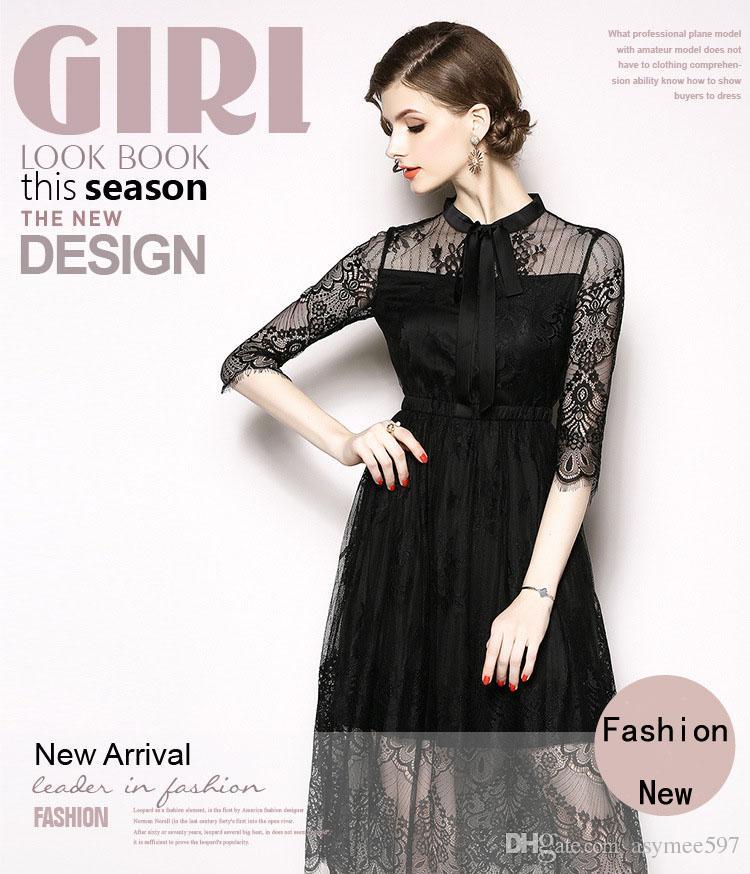 Moda Y ClásicoArco DecManga Agradable 34 Belleza LongitudOtoño Encaje De Señora Tendencias Vestido Mujer sCrBQthdx