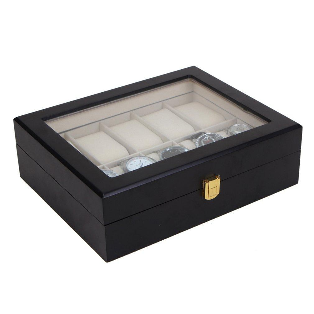 10 Grids Slots Black Wood Watch Box Storage Organizer Case Saat