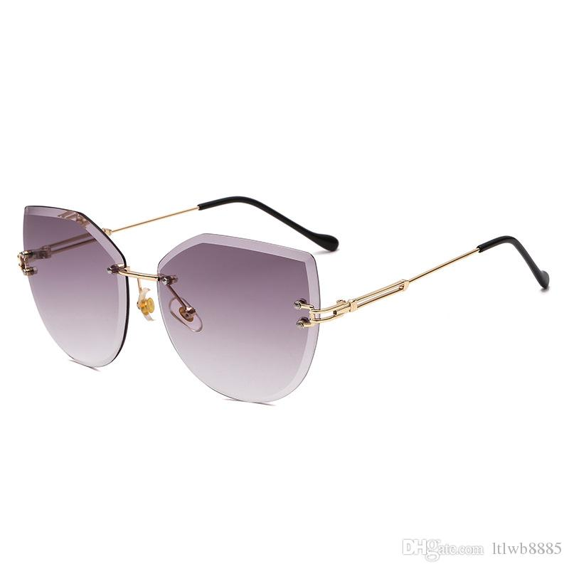 4938918a60 2018 New Rimless Sunglasses Luxury Ladies Cat Eye Sunglasses Women Brand  Designer Metal Frame Pink Vintage Glasses Uv400 Polarised Sunglasses Baby  ...