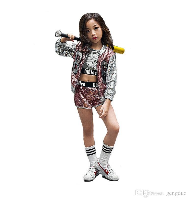 b6ca45957 2019 Kids Girl Sequin Dancing Costume Zipper Jacket Coat Crop Top ...