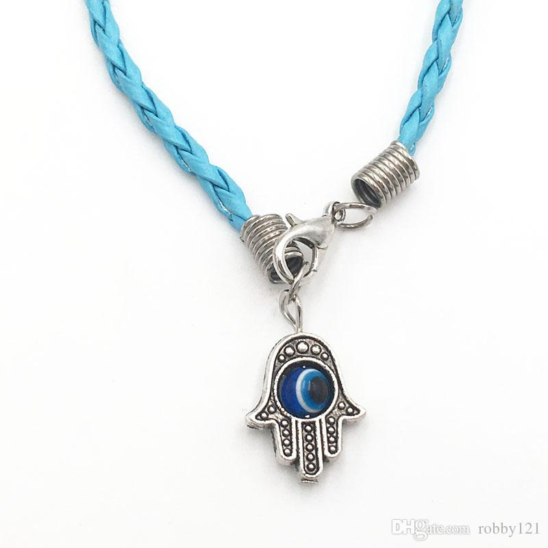 "Wholesale New Fashion Lucky Charm Pendant HAMSA Hand ""Evil Eye"" Sky Blue String Bracelets"
