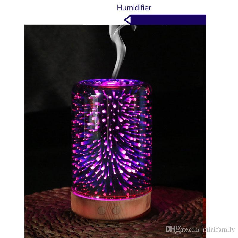 3D Aroma Humidifier Diffuser Portable Ultrasonic Humidifier Diffuser Gradient LED Cool Mist Fresh Air Spa Beauty 100ML DHL