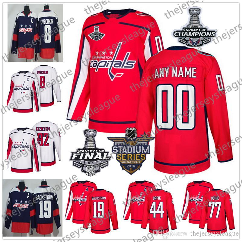 best service f5d21 1d7f0 Custom Washington Capitals 2018 Stanley Cup Patch Any Number Any Name  Stitched Navy Blue Red White #8 Ovechkin Oshie Hockey Jerseys