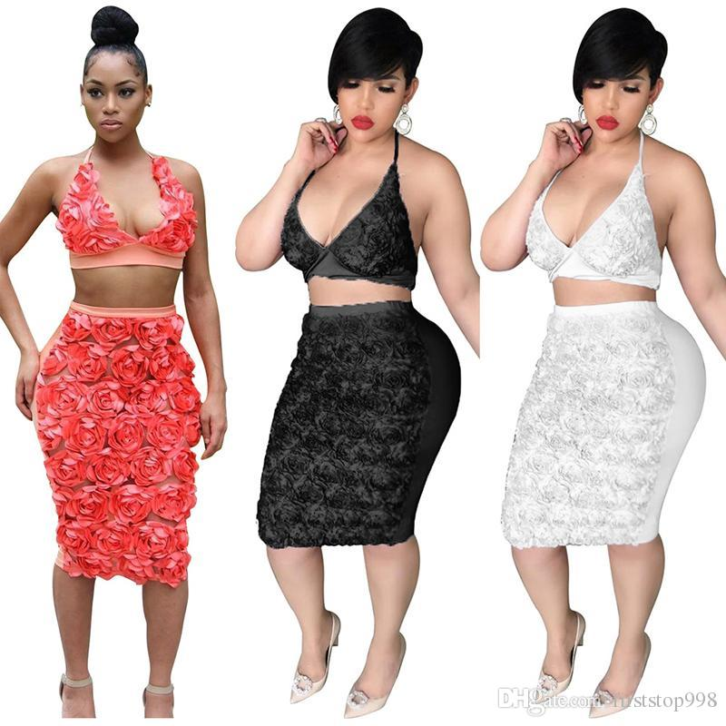 Sexy women's clothes set hang neck shirt + long skirt rose flower two-piece suit white red black optional