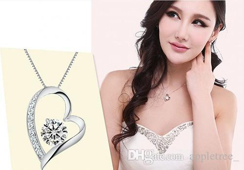 Nuevo cristal austriaco Diamante Amor Corazón Colgante Collar Llamativo Moda Mujeres Niñas Señora Swarovski Elements collares Joyería