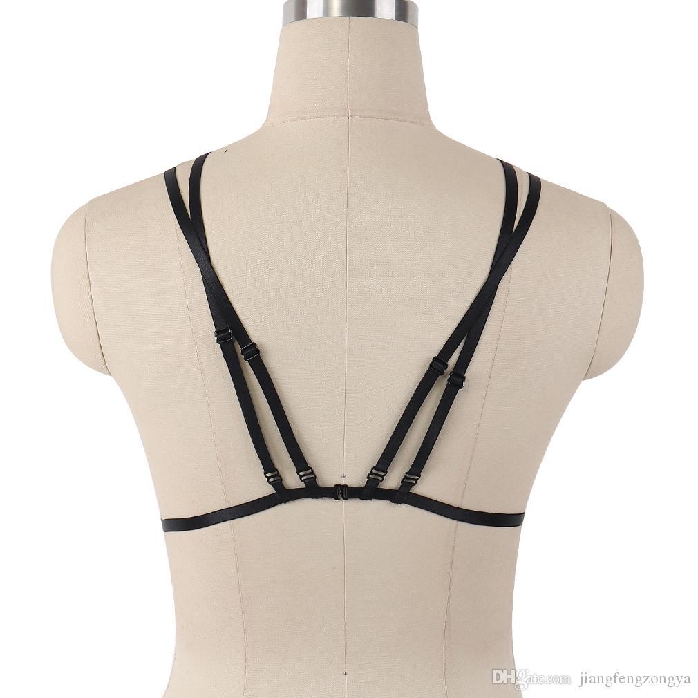 Fetish Body Harness Porter Cage Femmes Sexy Bondage Lingerie À La Main Cupless Body Harnais Goth Crop Top Sous-Vêtements