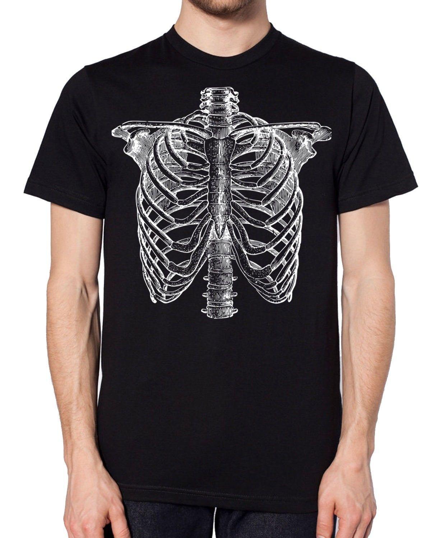 Detailed Skeleton Black Halloween T Shirt Candy Skull Cheap Costume