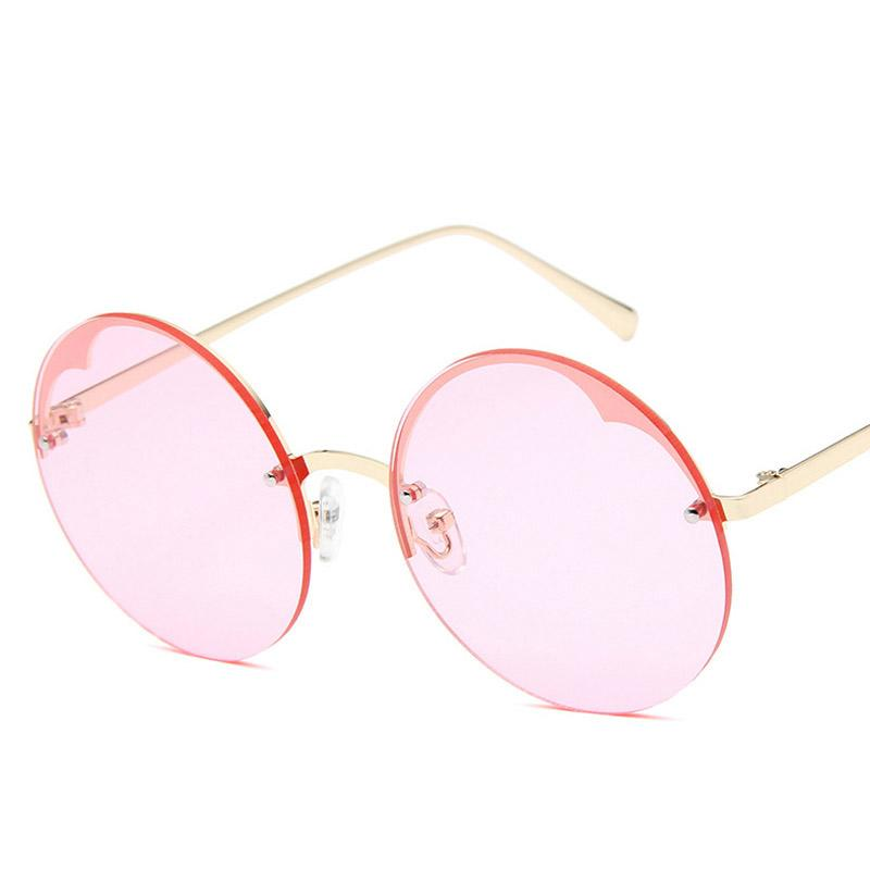 df1b4b1aa2 2018 Hot Pink Round Sunglass Women Circle Transparent Sun Glasses Brand  Designer Rimless Sunglasses Oculos De Sol Feminino Electric Sunglasses  Fastrack ...