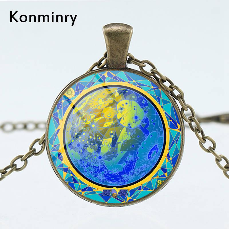 Konminry Galaxy Mercury Necklace Art Astronomical Planet Sun Moon Saturn  God Glass Dome Pendant Men Women Jewelry