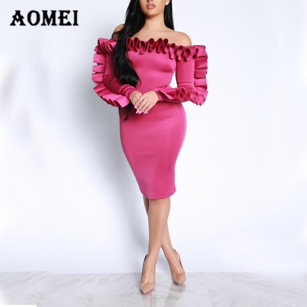 Compre Señoras Sexy Off Shoulder Burgundy Dress 2018 Nuevo Slim ...