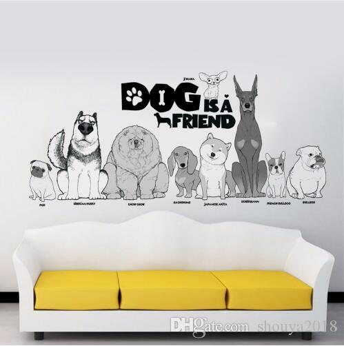 Dog is a friend pug chow chow jiwawa dogs wall sticker for pet shop kids room living room animals home decor decal mural art