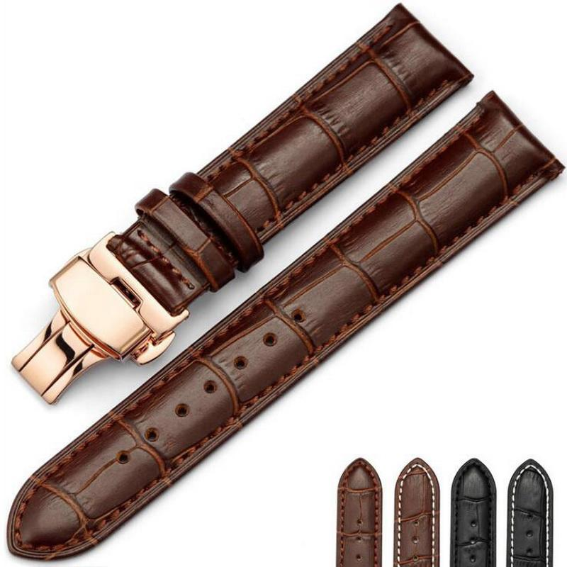 Leather Watch Band Wrist Strap 16mm 18mm 20mm 22mm 24mm Rose Gold Butterfly Clasp Buckle Replacement Bracelet Belt Black Brown