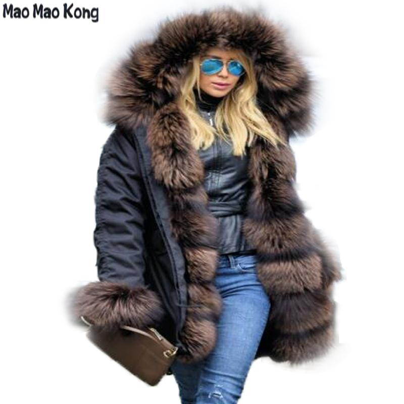 3f3510234 2019 Brand Style Winter Jacket Women New Long Parka Real Fur Coat ...