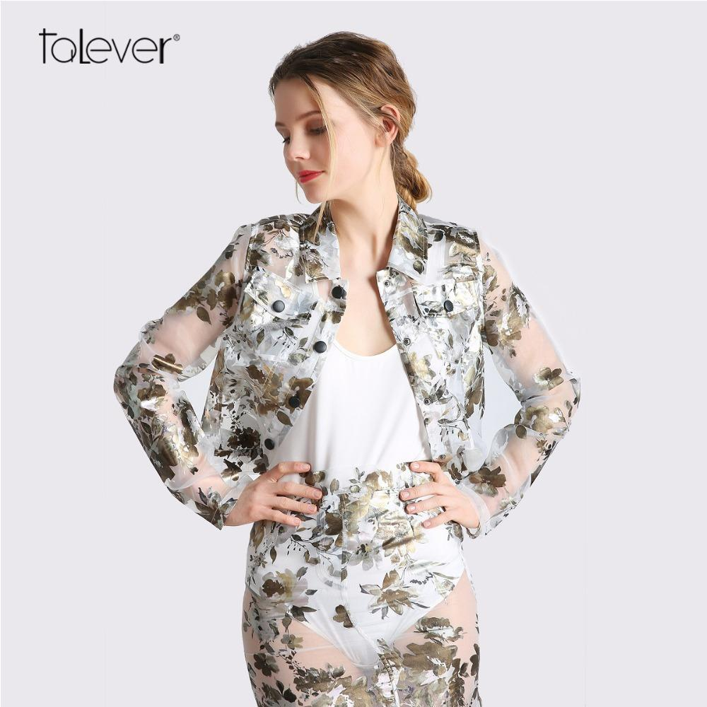 b174a927c 2018Women Bomber Jackets Fashion Floral Printed Transparent Organza Jacket  Female Spring Casual Light Thin Short Coat Talever