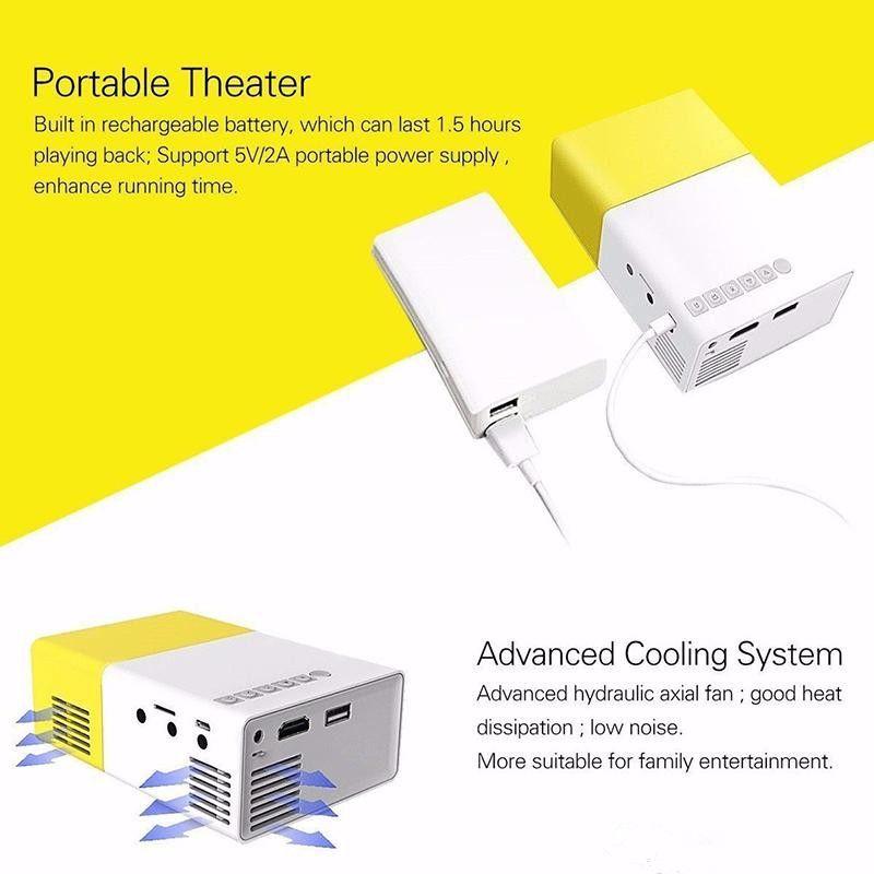 Nova Hot YG300 LED Projetor Portátil 400-600LM 3.5mm de Áudio 320x240 Pixels YG-300 HDMI USB Mini Projetor Home Media Player Livre