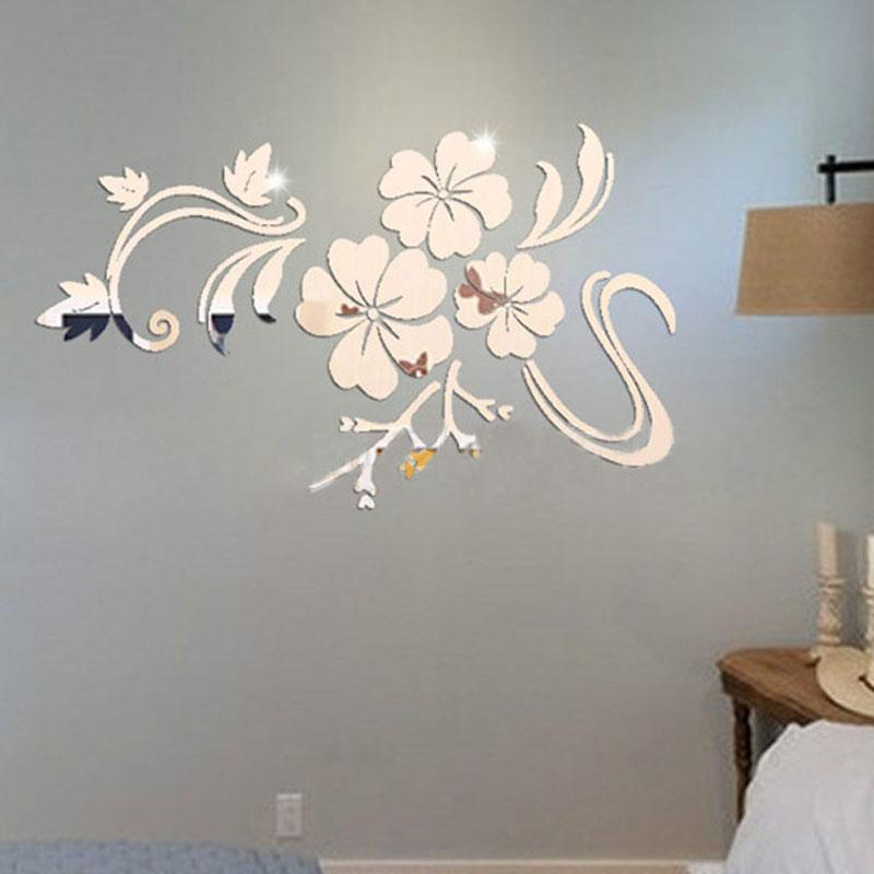3d flowers vine pattern mirror acrylic wall stickers home decoration