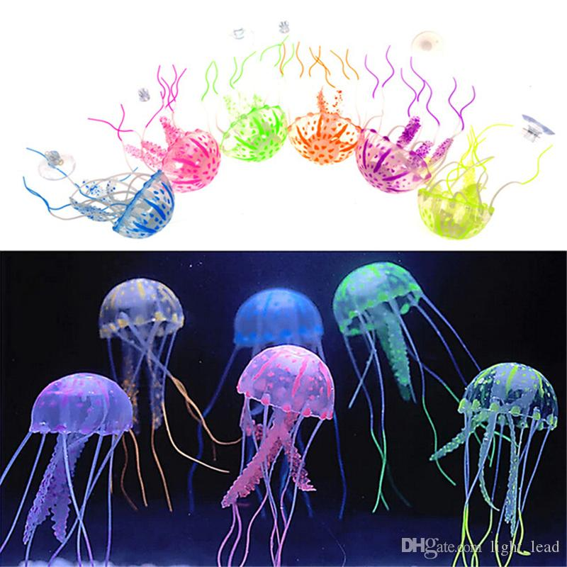 Vivid Glowing Effect Fluorescent Artificial Jellyfish Aquarium Fish Tank Decoration Ornament Swim Pool Bath Decor Mini Night aquarium