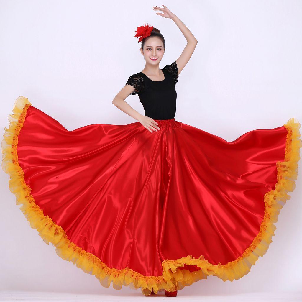 Acheter Costumes De Danse Espagnole Pour Femme Robe De Flamenco Jupe