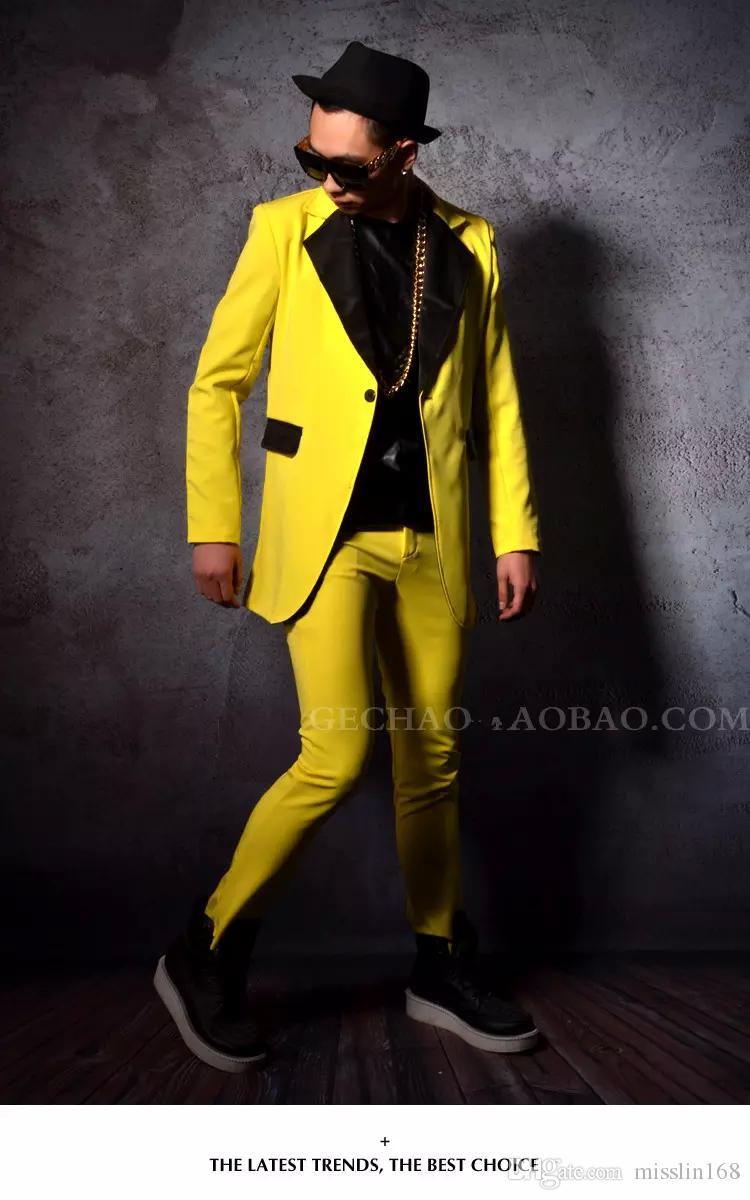 Male Medium long term jacket yellow pants nightclub bar tide performance costumes slim fashion coat trousers show for prom stage dj ds sing
