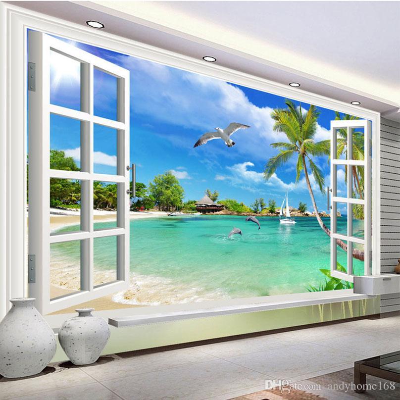 Foto personalizzata Wallpaper Hawaii 3D Finestra Paesaggio Camera da letto  Soggiorno Divano TV Sfondo Rivestimento murale Sfondi per parete