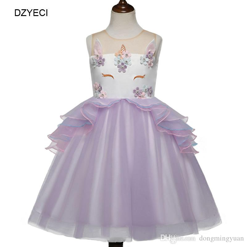 7308b9636f70 Unicorn Lace TUTU Dresses For Baby Girl Party Birthday Costume Summer Kid  Embroidery Backless Princess Frock Child Gown Ariel Dress 2-6Year Unicorn  Dress ...