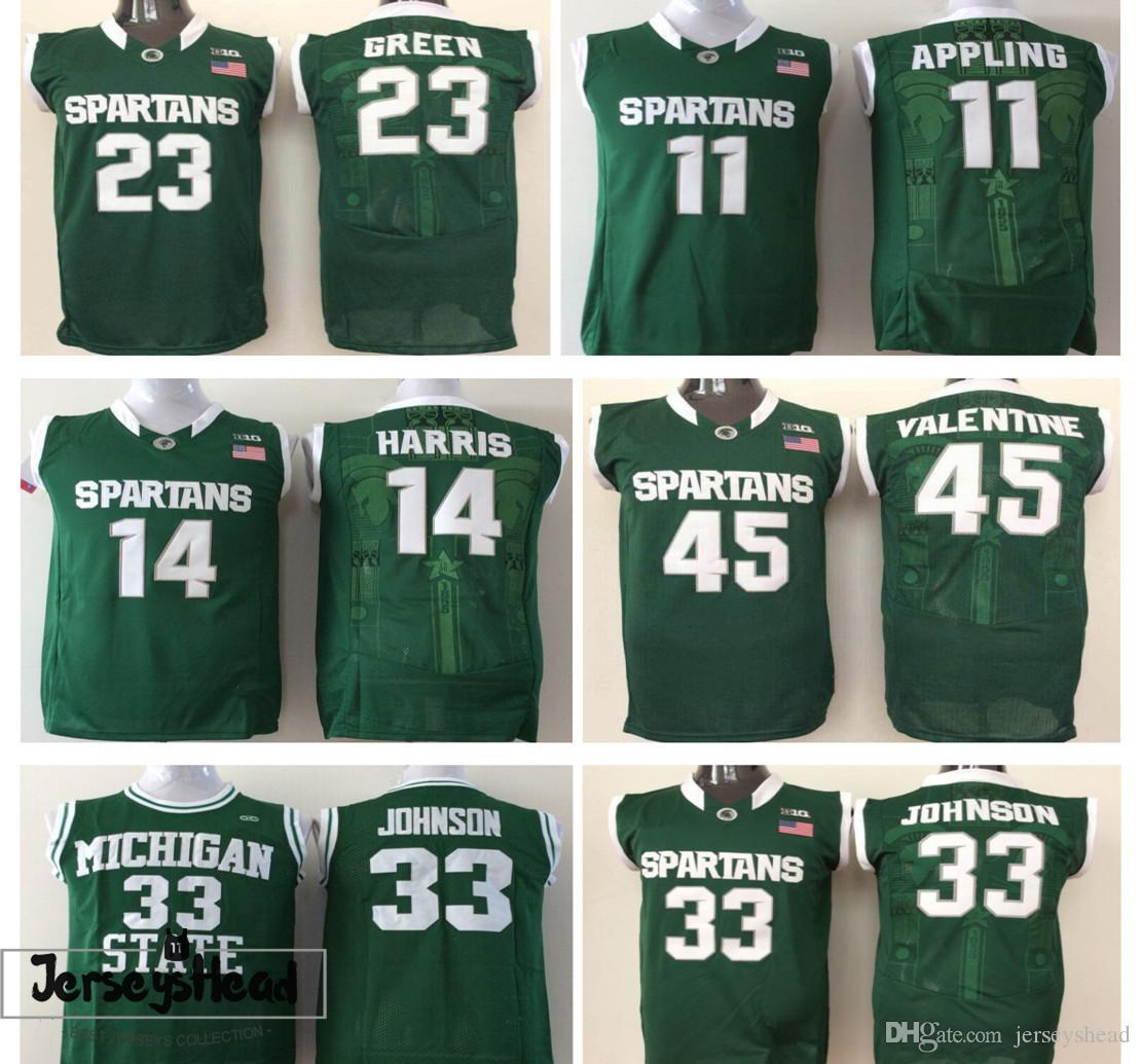 291a0ac91a4 ... shopping mens state spartans college jerseys green 33 johnson 45 denzel  valentine 23 draymond green 14