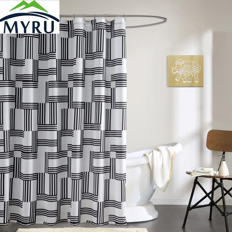 2019 MYRU European Style Shower Curtain Black And White Striped Unique For Bathroom From Hariold 3236
