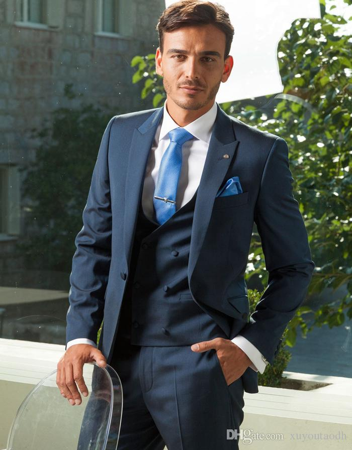 1d98d5158d8 Navy Blue Men Suits Blazer Business Suit Slim Fit Formal Wedding Suits  Grooms Tuxedos Custom Made Terno Masculino Jacket+Pants+Vest Terno  Masculino Groom ...