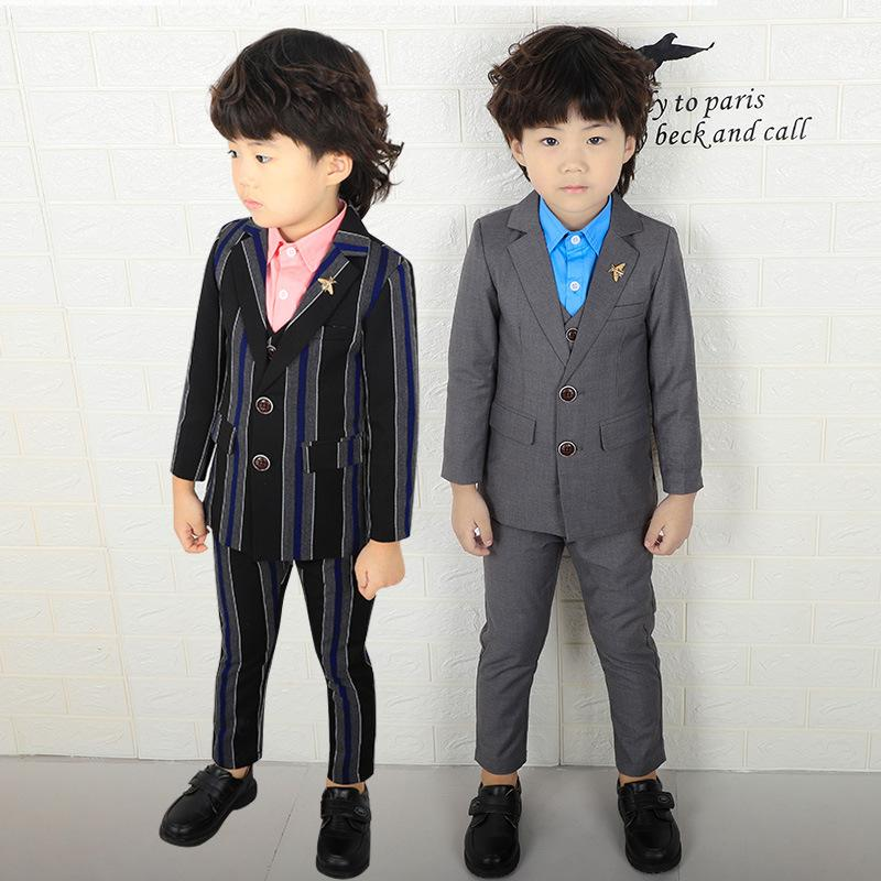 cb2e94375f6f 2019 Kids Gray Wedding Blazer Suit Boys Winter Striped Clothing Set Flower Boys  Party Tuxedos Children Spring Suits From Anglestore, $24.12 | DHgate.Com