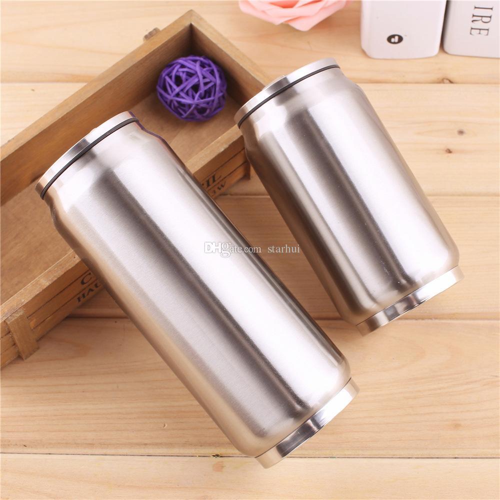 350 ML 500 ML Cola Puede Botella Botella de agua Taza de acero inoxidable con aislamiento al vacío Taza taza Sith Paja Tapas WX9-488