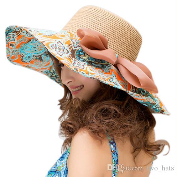f1550d989d21a Women S Large Brim Sun Hats Straw And Cotton Clothes Patchwork Sun Hat For  Summer Foldable With Bowknot Floppy Sun Hats With Drawstring QF Summer Hats  ...