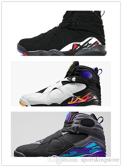 ead4ad0f5c9 HOT 8 8s Chrome Aqua Black Purple Basketball Shoes Men 8s Playoffs Three  Peat 2018 Release Sneakers Size 41 47 Boys Basketball Shoes Cp3 Shoes From  ...