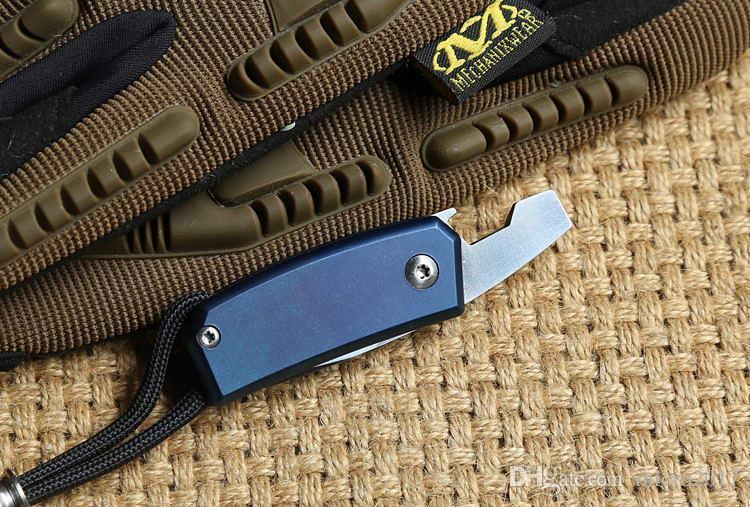 mini cuchillos plegables d2 cuchillo TC4 mango de titanio al aire libre engranaje bolsillo bolsillo cuchillos abrebotellas destornillador envío gratis